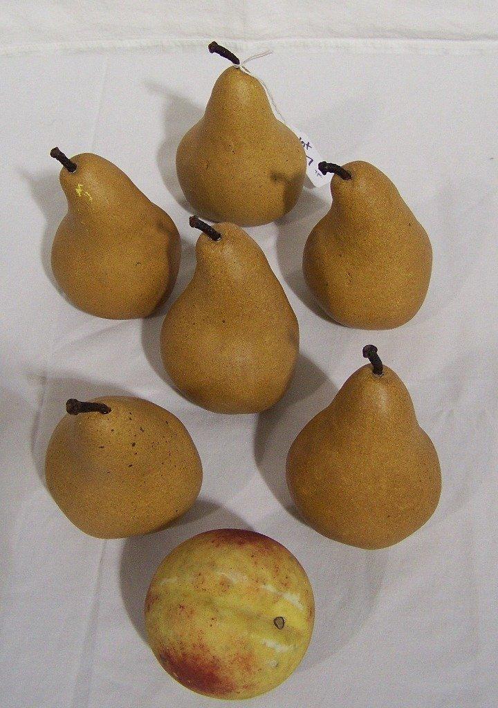 7 Alabaster Fruit, 6 Pears an a Peach