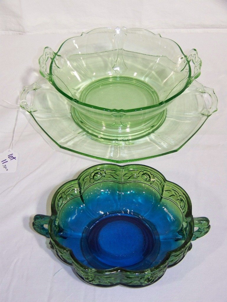 3 Pcs. of Depression Glass, Large Tray & Bowl & Candy D