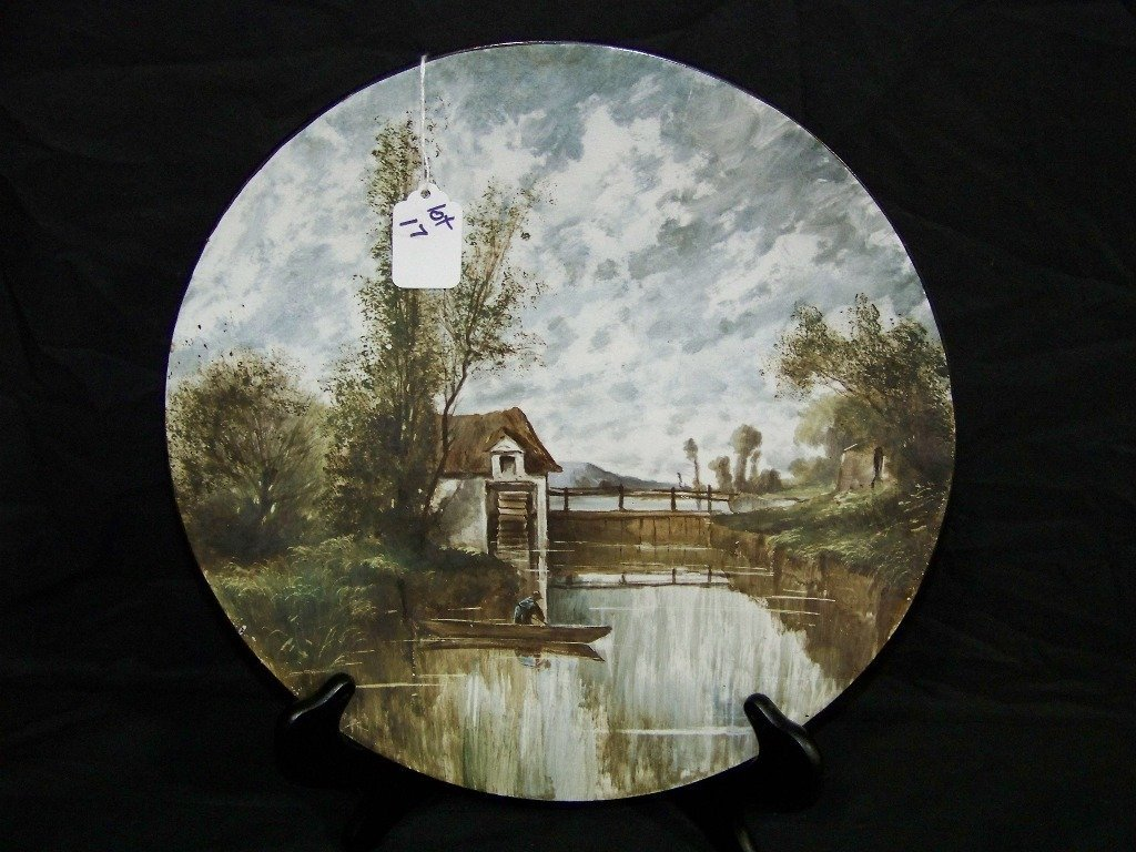 """19th C. Signed French H.Painted Glass Charger """"Landscap"""