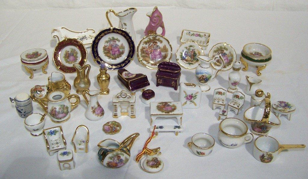 Large Group of Miniature Limoges Porcelain Articles &