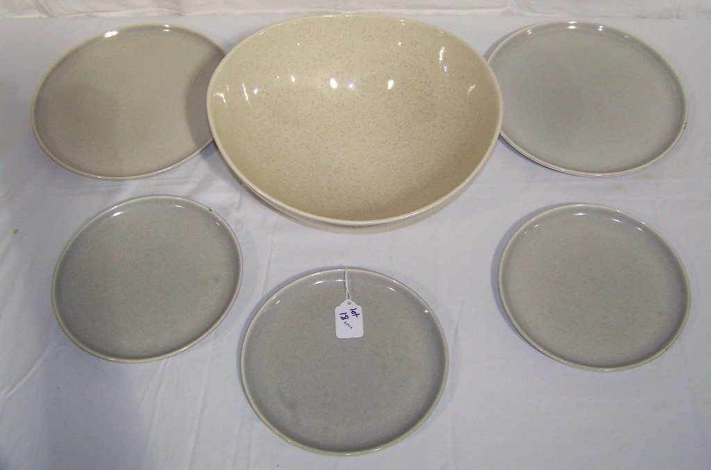 Large Red Wing Bowl & 5 Russel Wright Plates