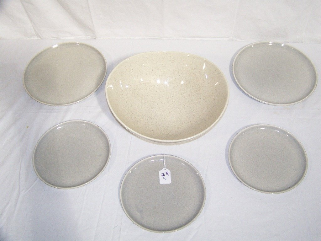 Large Red Wing Bowl & 5 Russel Wright Plates - 2