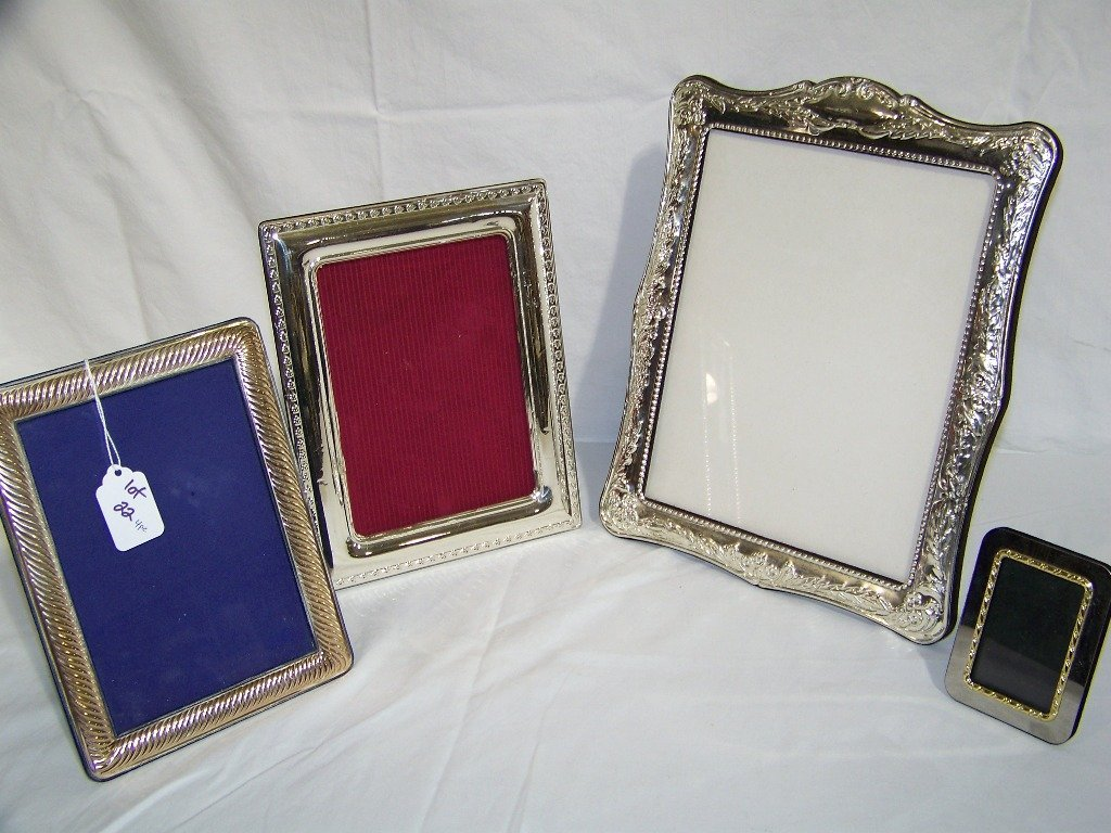 4 Ornate Silver & Silver Plated Picture Frames