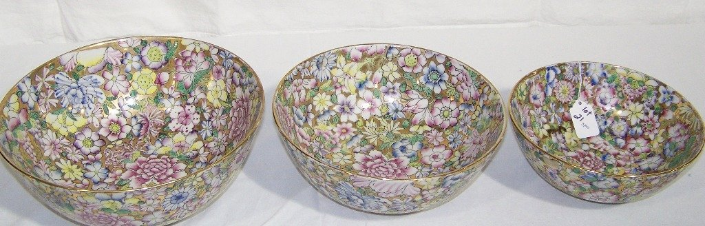 3 Japanese Hand Painted Bowls