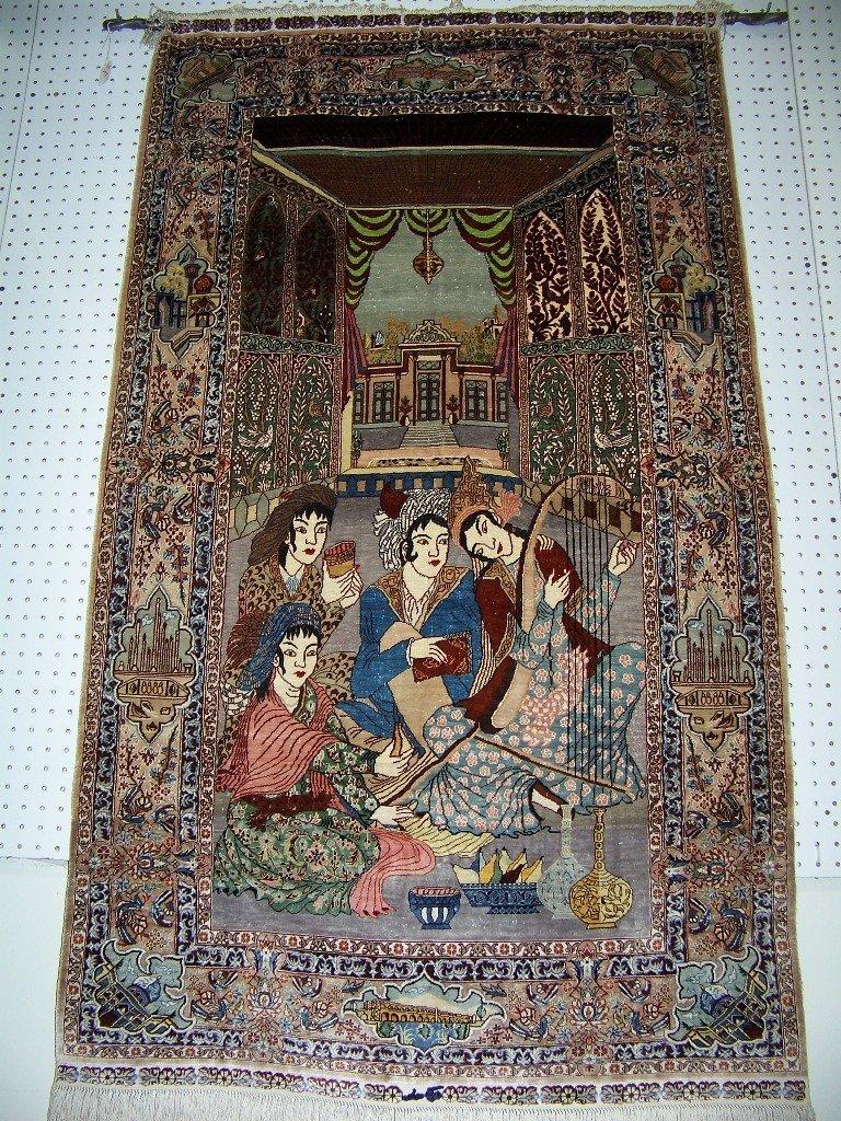 Vintage Signed Silk Tabriz Figural Carpet/Rug