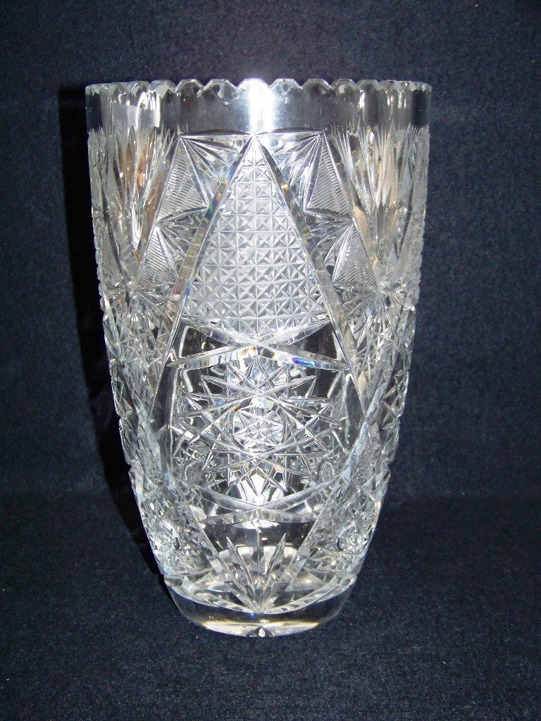 "Vintage 10"" American Cut Glass Vase"