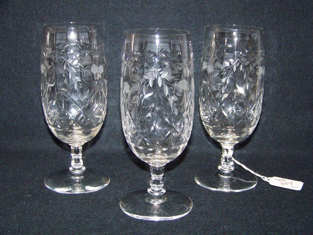 3 Vintage Fine Cut & Etched Water Glasses