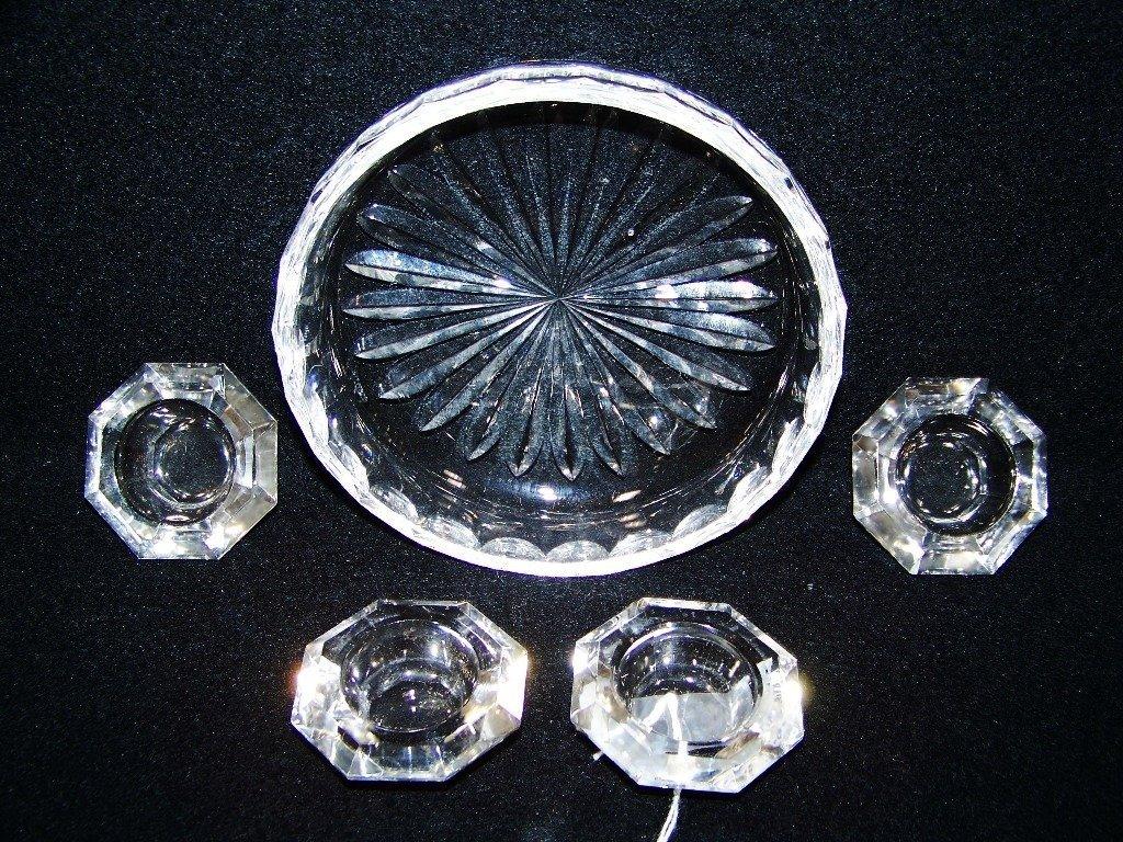 Waterford Cut Crystal Dish & 4 Baccarat Quality Salts