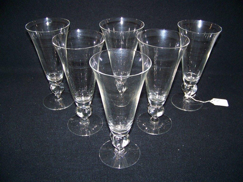6 Steuben Style Beer Glasses