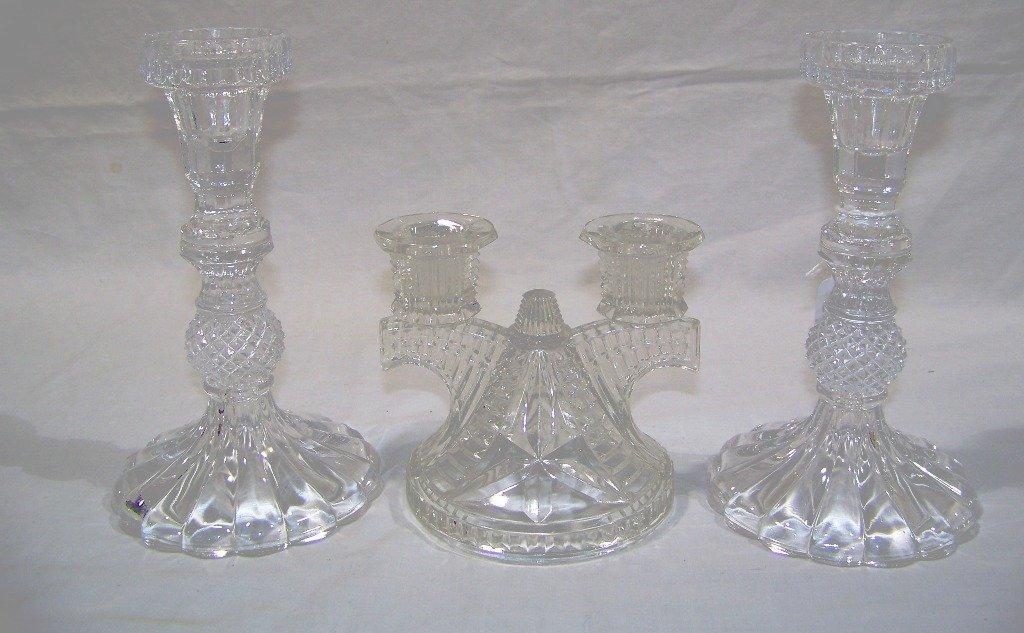 3 Vintage Cut Glass Candle Sticks
