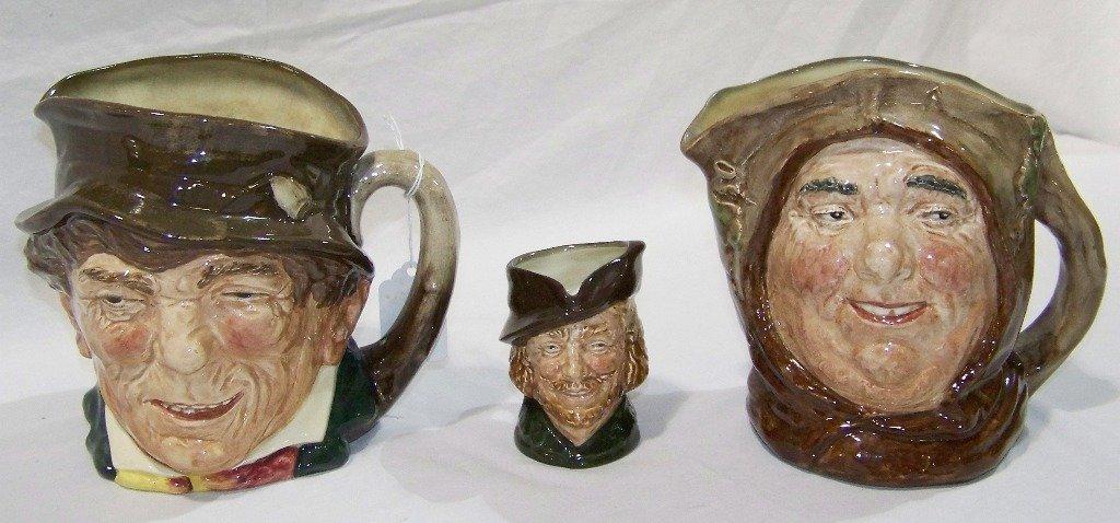 3 Vintage Royal Doulton Toby Mug's,Friar Tuck,Paddy &