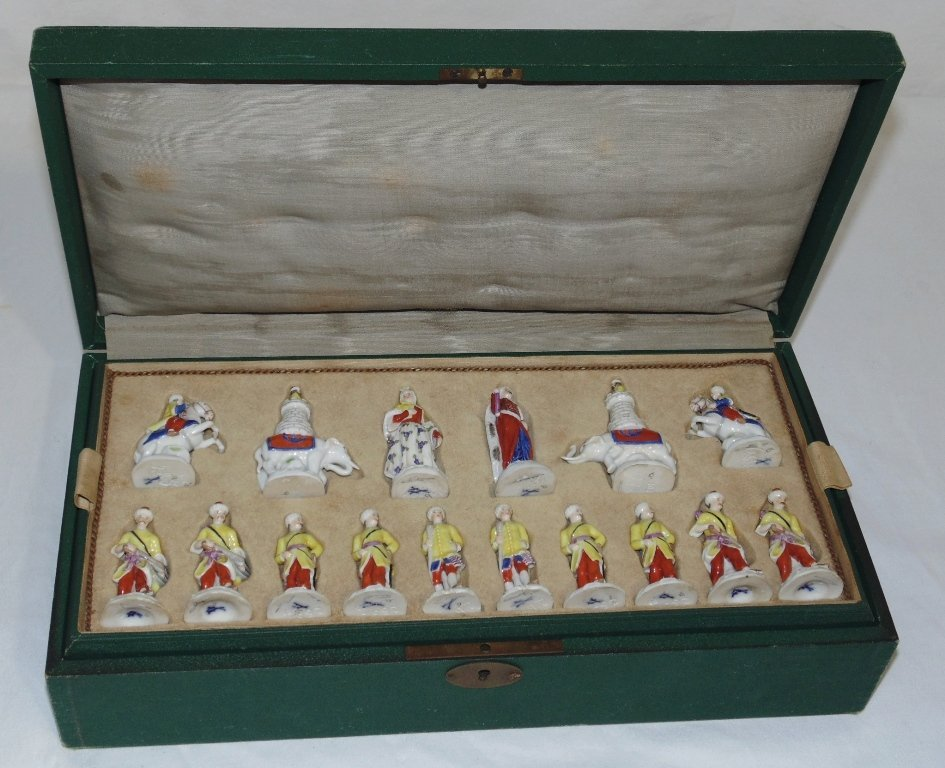 A Meissen porcelain figural chess set
