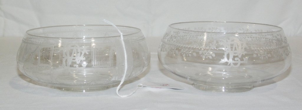 Pair of Fine Early Etched Finger Bowls