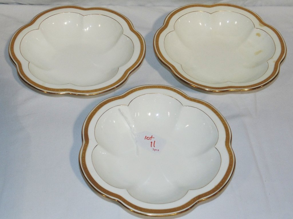 "3 Davis Collamore & Co. ""Minton"" Gilded Scalloped Bowls"