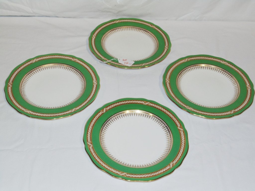 """4 Fine Early Spode Gilded Scalloped Plates 9"""""""