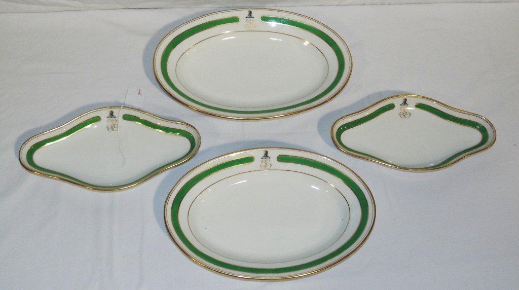 4 Early Worchester/Coalport Crested Porcelain Serving P