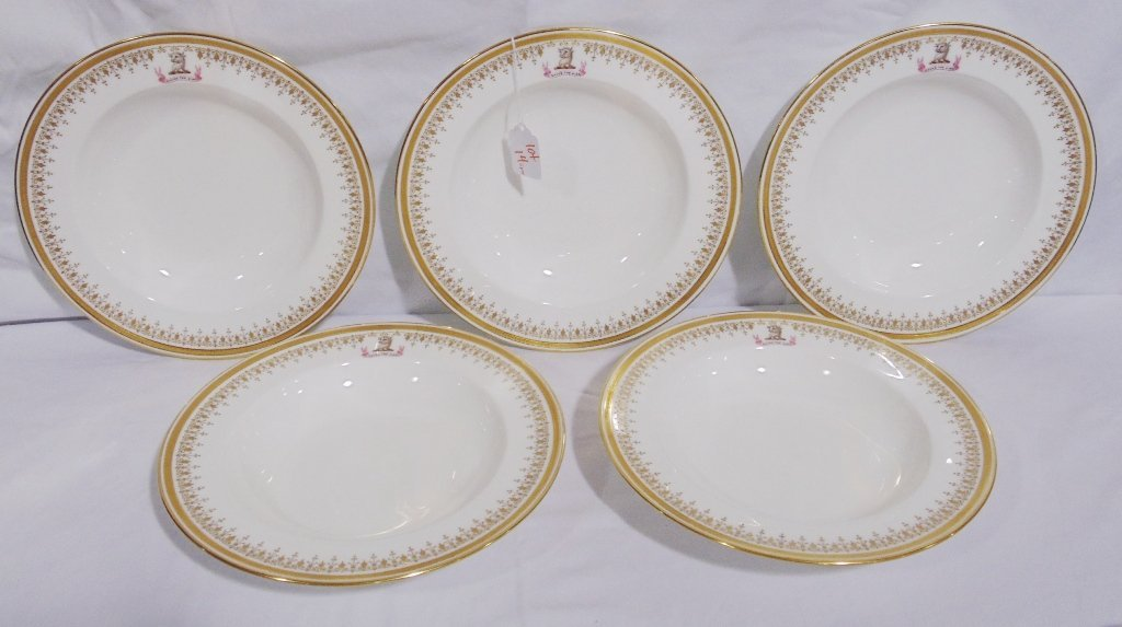 5 Fine Early Royal Crested Gilded Bowls by Minton's