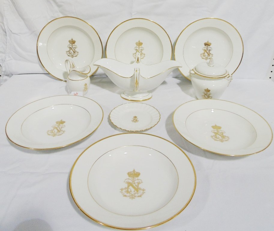10 Early Sevres Napoleon Crested Gilded Porcelain Pcs.