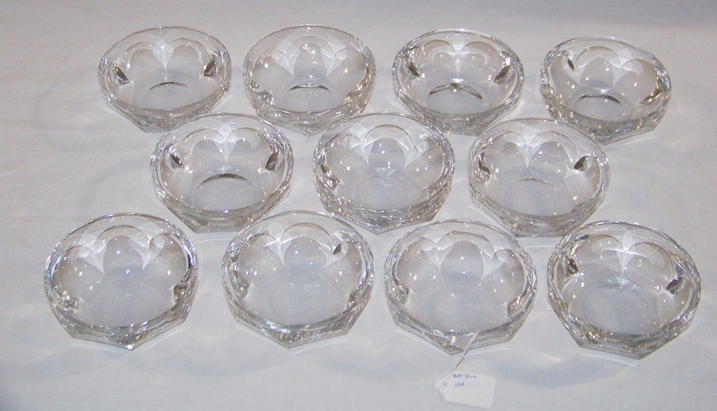 """11 Signed Baccarat """"Harcourt Pattern"""" Finger Bowls"""