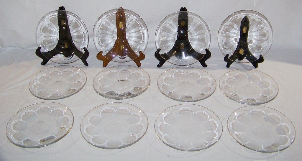 """12 Signed Baccarat """"Harcourt Pattern"""" 7 1/2"""" Plates"""