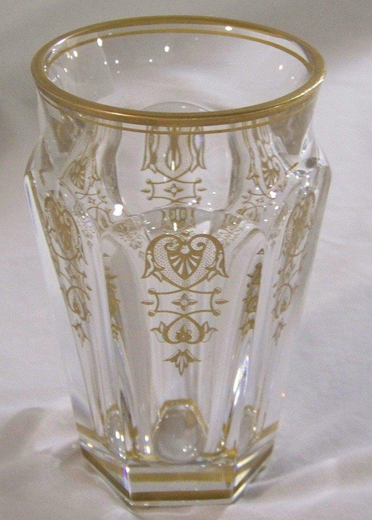 Fine Vintage Baccarat Etched & Gilded Vase