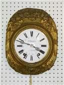 19th C JFraboul Brass  Porcelain Wall Clock