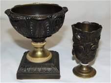 19th C Bronze Tree Form Vase  Ornate Compote