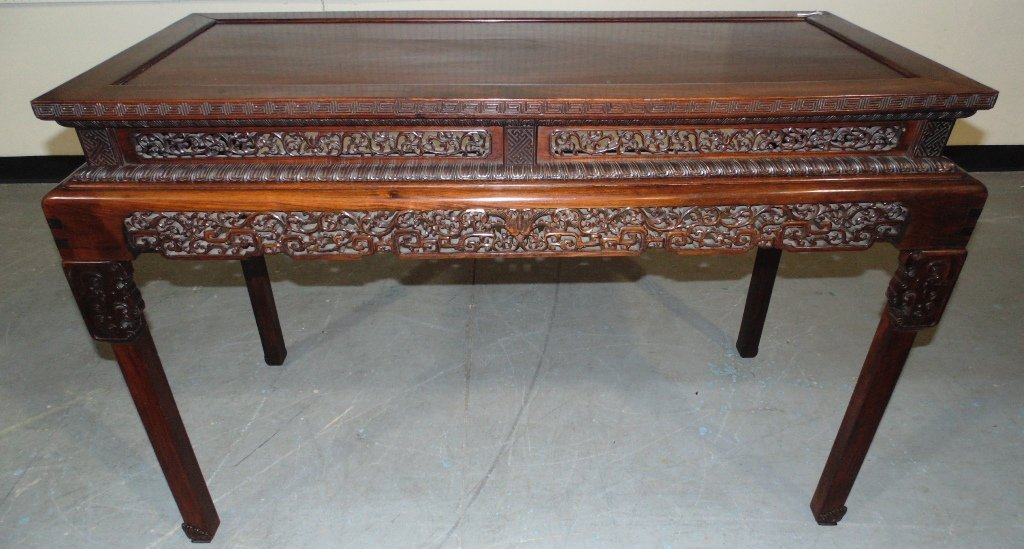 Very Fine 19th C. Carved Chinese Altar Table,Rosewood/Z