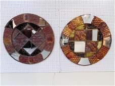 Pair Mid C. Modern Copper Brutalist Style Round Mirrors