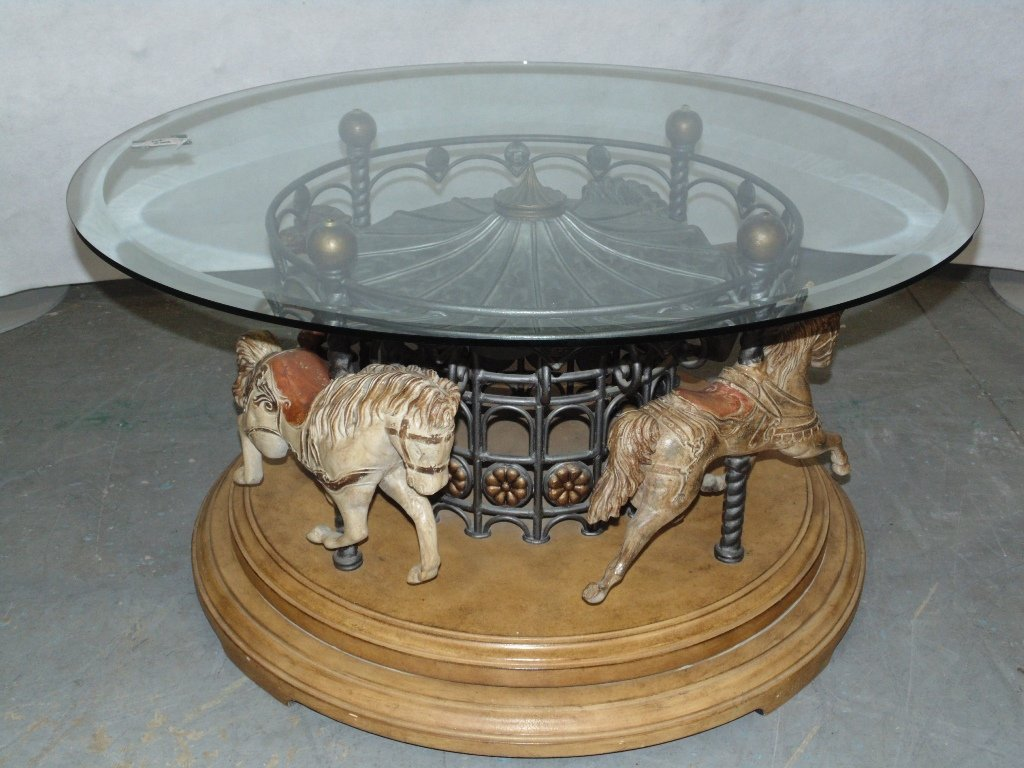 Mid C. Modern Carousel Horse Revolving Coffee Table