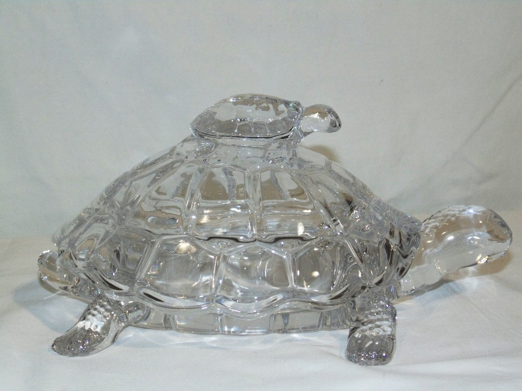VINTAGE CRYSTAL MOTHER TURTLE & BABY LIDDED CANDY DISH - 6