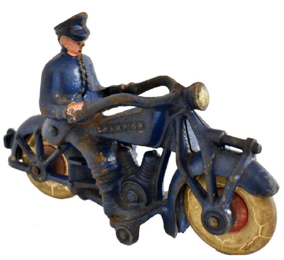 "LARGE CAST IRON ""CHAMPION"" POLICE MOTORCYCLE"