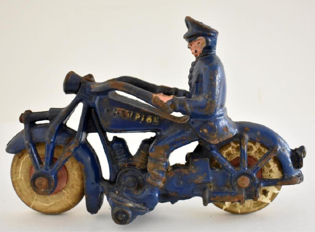 "LARGE CAST IRON ""CHAMPION"" POLICE MOTORCYCLE - 2"