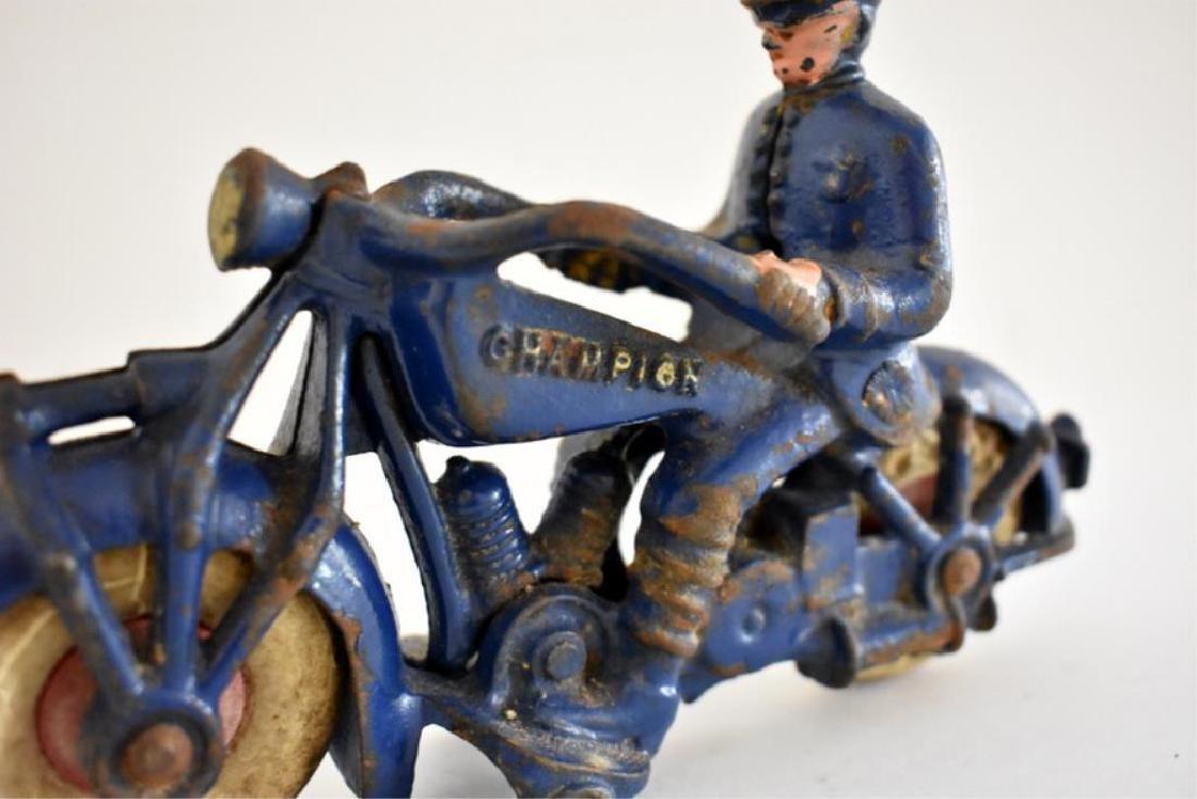 "LARGE CAST IRON ""CHAMPION"" POLICE MOTORCYCLE - 4"
