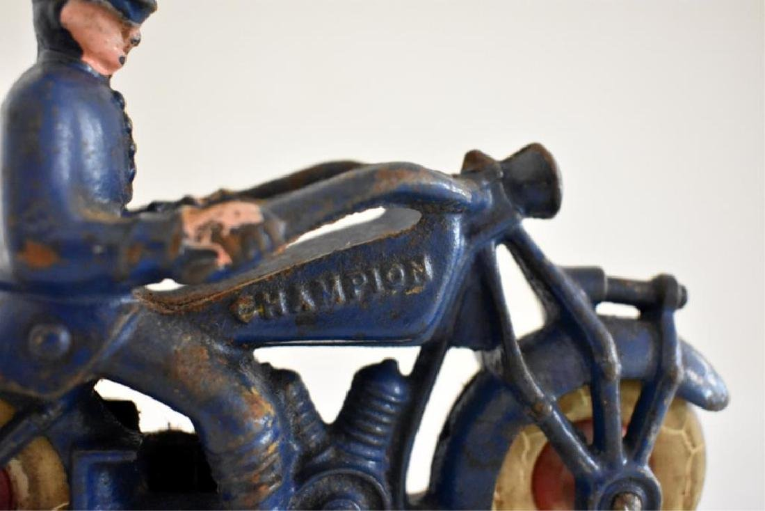 "LARGE CAST IRON ""CHAMPION"" POLICE MOTORCYCLE - 5"