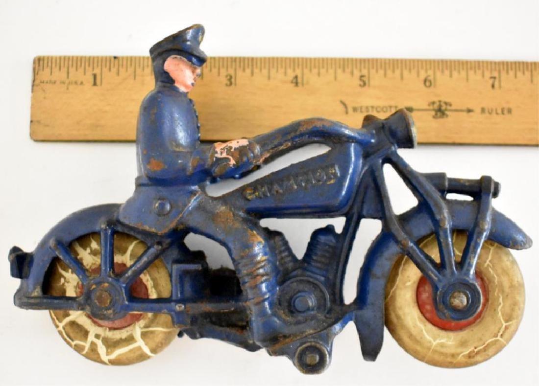 "LARGE CAST IRON ""CHAMPION"" POLICE MOTORCYCLE - 6"