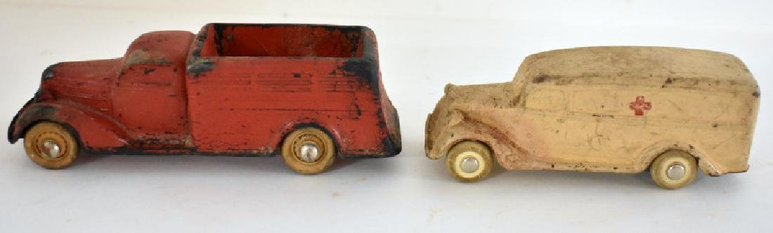 TWO ANTIQUE RUBBER TOY VEHICLES