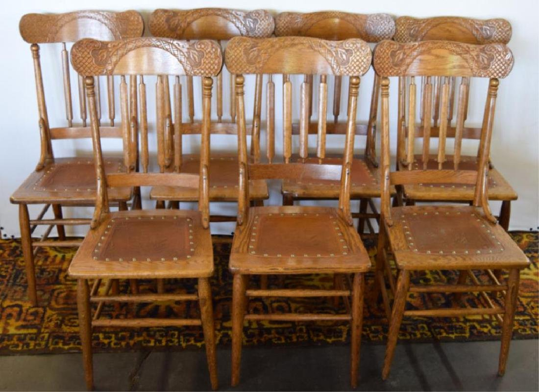 SEVEN MATCHING PRESSED BACK OAK CHAIRS - 2