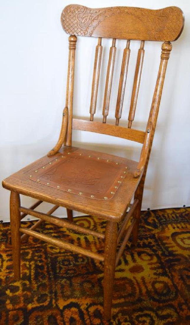 SEVEN MATCHING PRESSED BACK OAK CHAIRS - 3