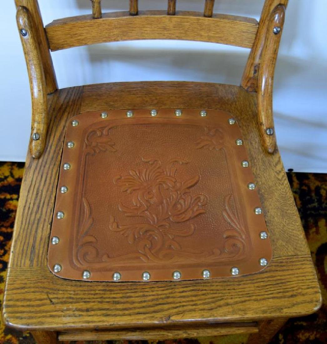 SEVEN MATCHING PRESSED BACK OAK CHAIRS - 5