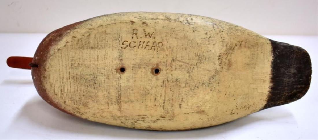 R.W. SCHAAP SIGNED WOODEN DUCK DECOY - 5