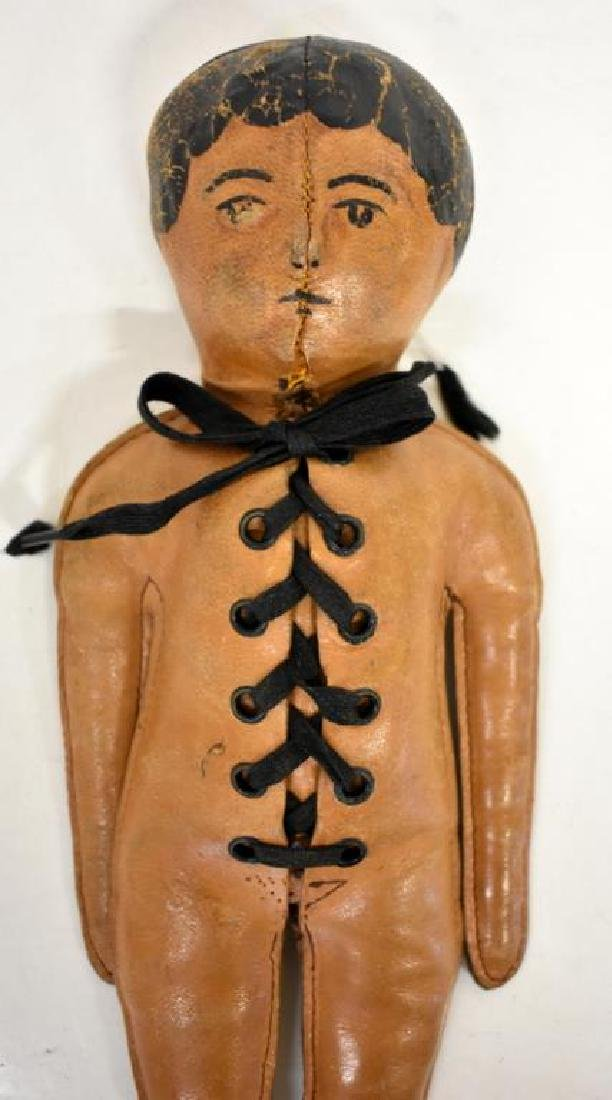 CIRCA 1900 LEATHER INDIAN DOLL - 3