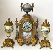 ANTIQUE FRENCH CLOCK WITH GARNITURES