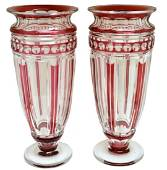 PAIR OF ST. LOUIS CRANBERRY TO CLEAR CRYSTAL VASES