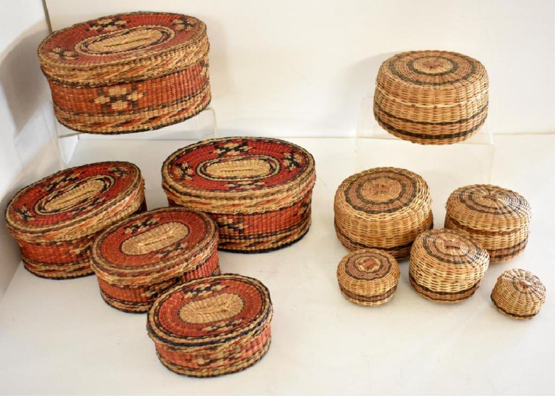 TWO SETS OF NATIVE AMERICAN INDIAN NESTING BASKETS