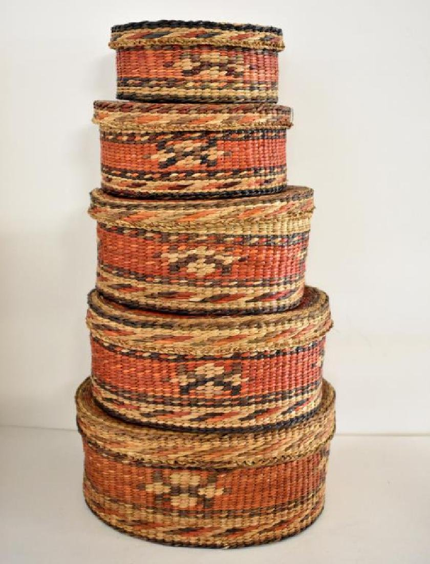 TWO SETS OF NATIVE AMERICAN INDIAN NESTING BASKETS - 2