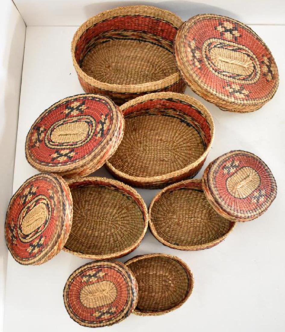 TWO SETS OF NATIVE AMERICAN INDIAN NESTING BASKETS - 3
