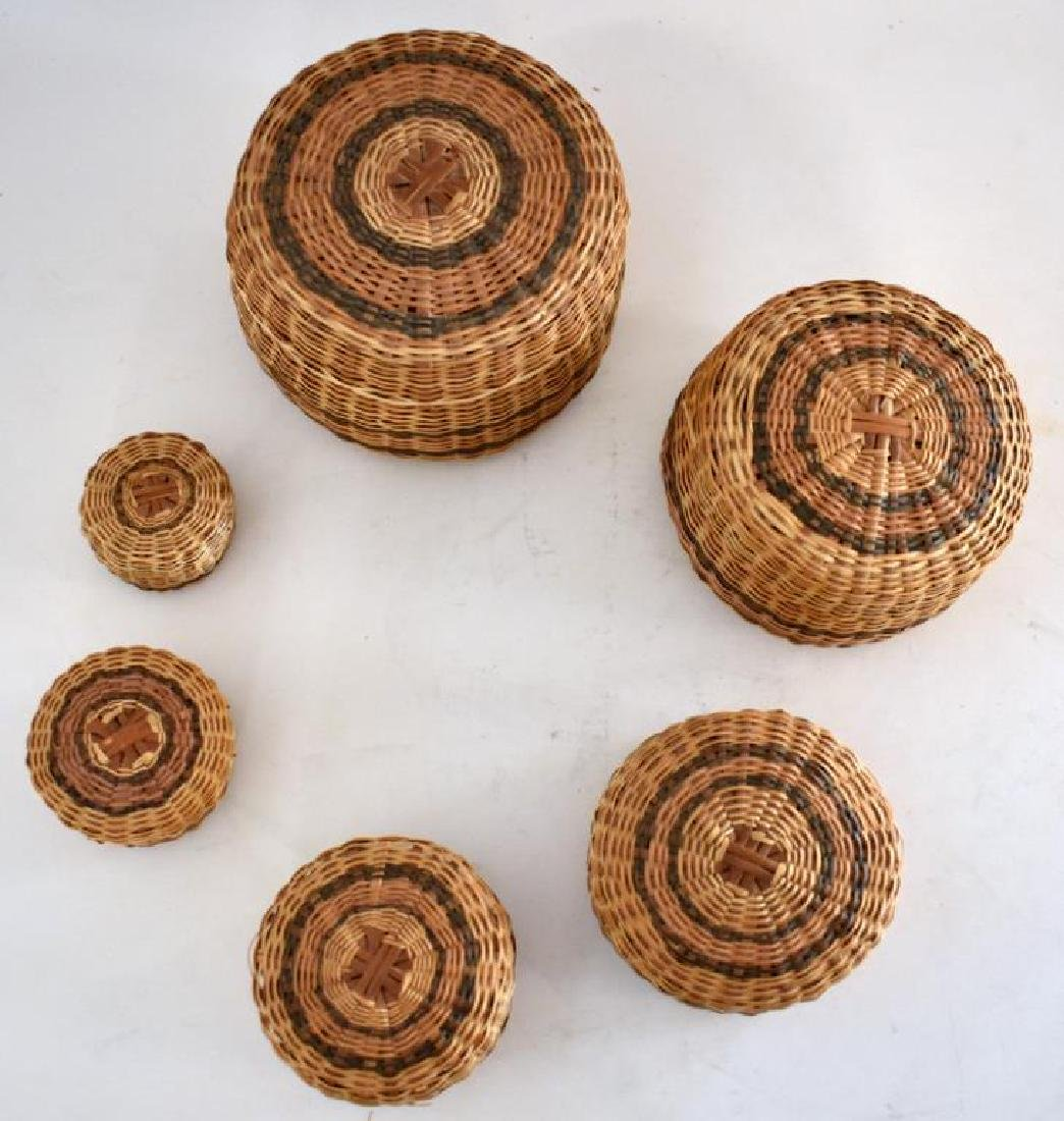 TWO SETS OF NATIVE AMERICAN INDIAN NESTING BASKETS - 4