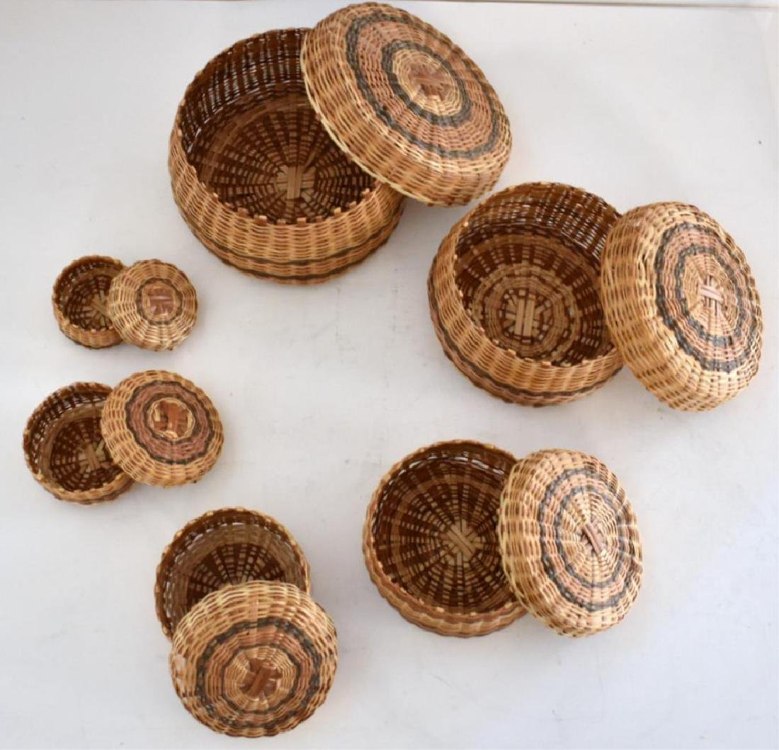 TWO SETS OF NATIVE AMERICAN INDIAN NESTING BASKETS - 5