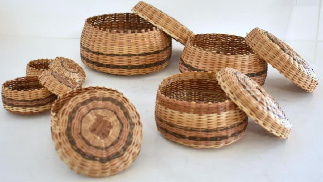 TWO SETS OF NATIVE AMERICAN INDIAN NESTING BASKETS - 6